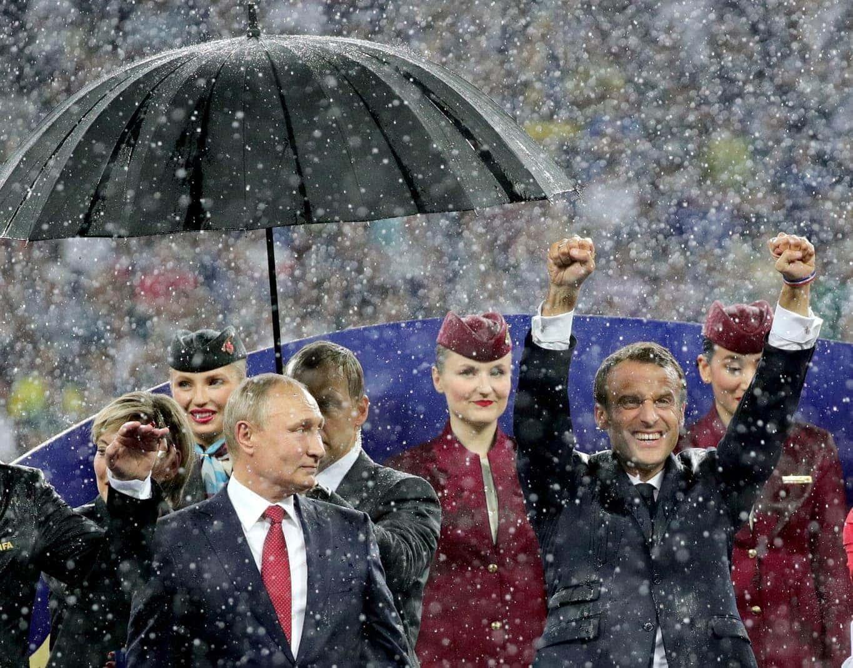 der französische Staatschef Emmanuel Macron und die kroatische Präsidentin Kolinda Grabar-Kitarovic