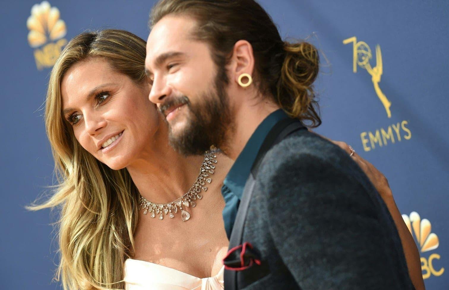 <p>Heidi Klum und ihr Freund Tom Kaulitz haben sich bei den Emmy Awards im September 2018 freudestrahlend auf dem Roten Teppich gezeigt.</p> Foto: AFP