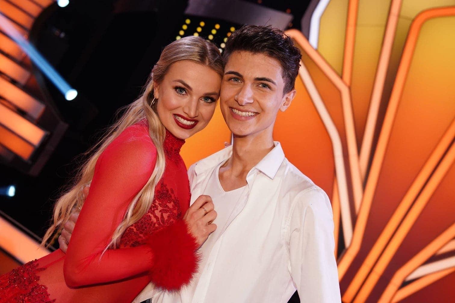 <p>Popsänger Lukas Rieger tanzt mit Katja Kalugina.</p> Foto: TVNOW / Gregorowius