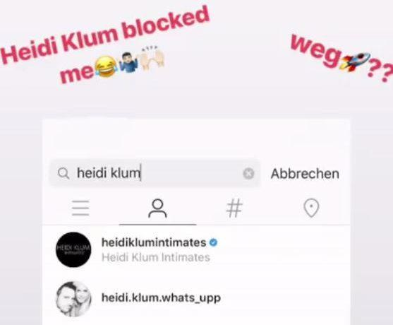 Heidi Klum blockiert Marcel Remus