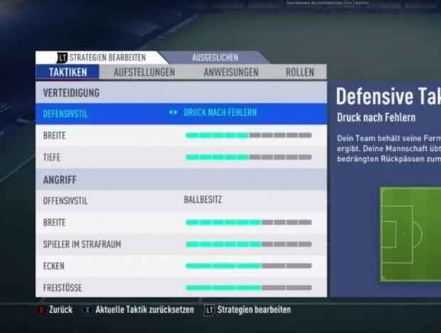 FIFA 19 Taktik-Einstellungen