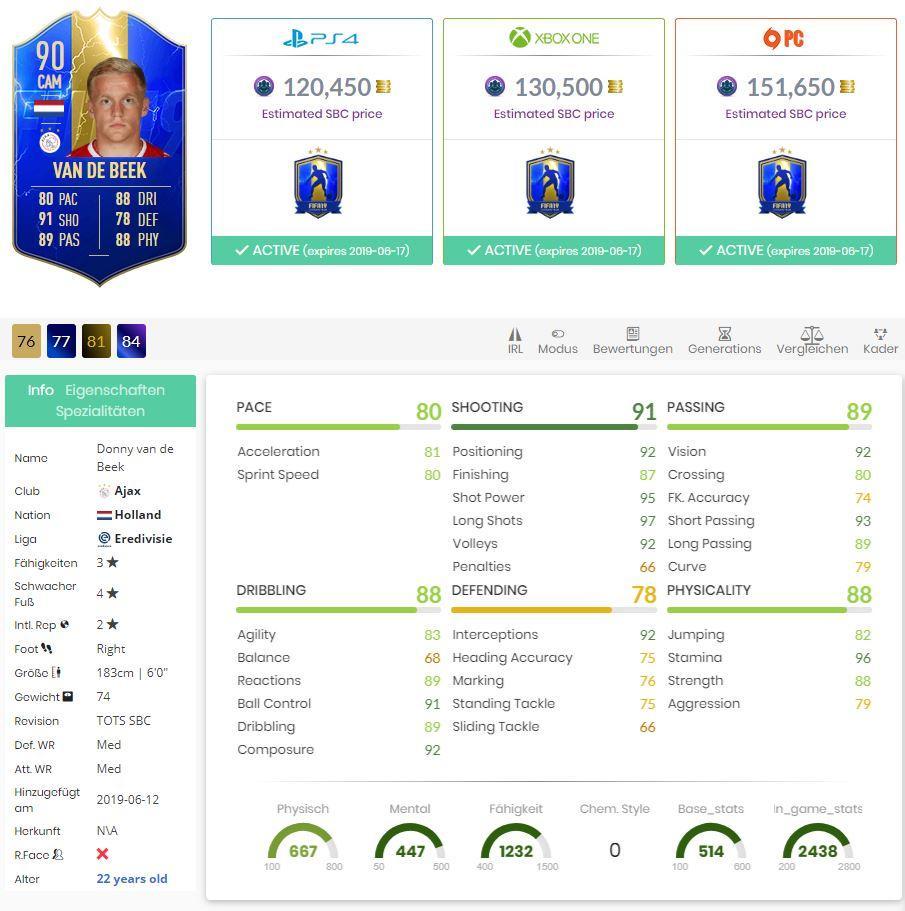 FIFA 19 Stats TOTS Donny van de Beek