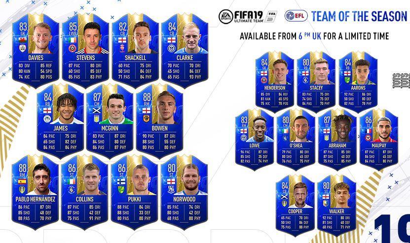 Team of the Season FIFA 19 EFL TOTS