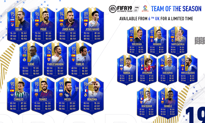 Team of the Season FIFA 19 La Liga