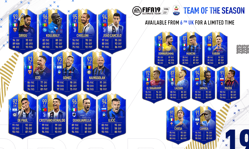 Team of the Season FIFA 19 Team Serie A