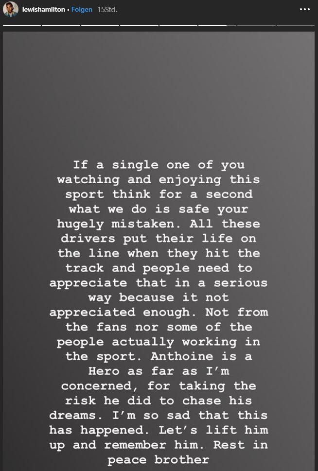 Lewis Hamilton Instagram Anthoine Hubert