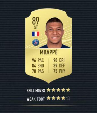 Kylian Mbappe FIFA 20 Karte