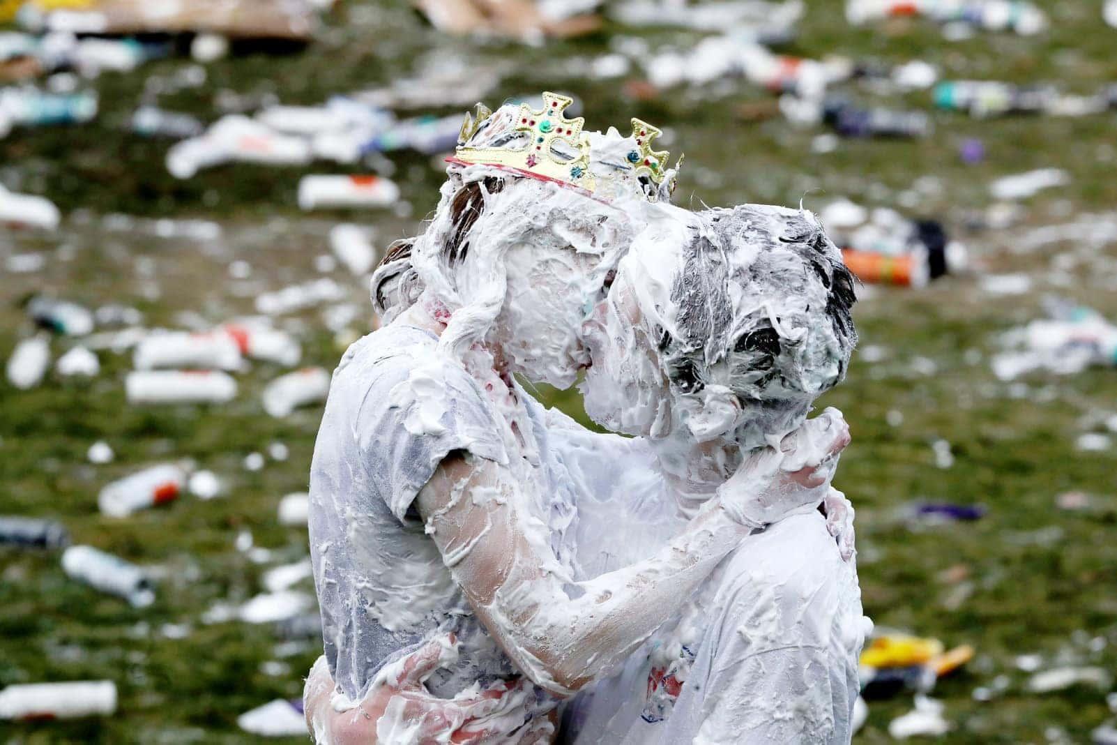 St. Andrews schaumverschmierte Studenten Party Rasierschaum