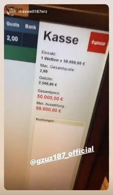 Gzuz Maxwell Tipico Bayern Tottenham 50000 Euro