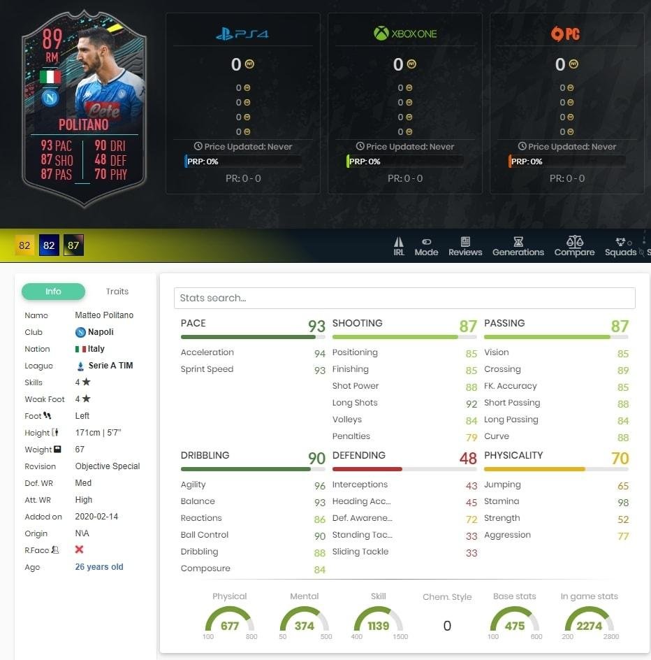 Matteo Politano 89er FIFA 20