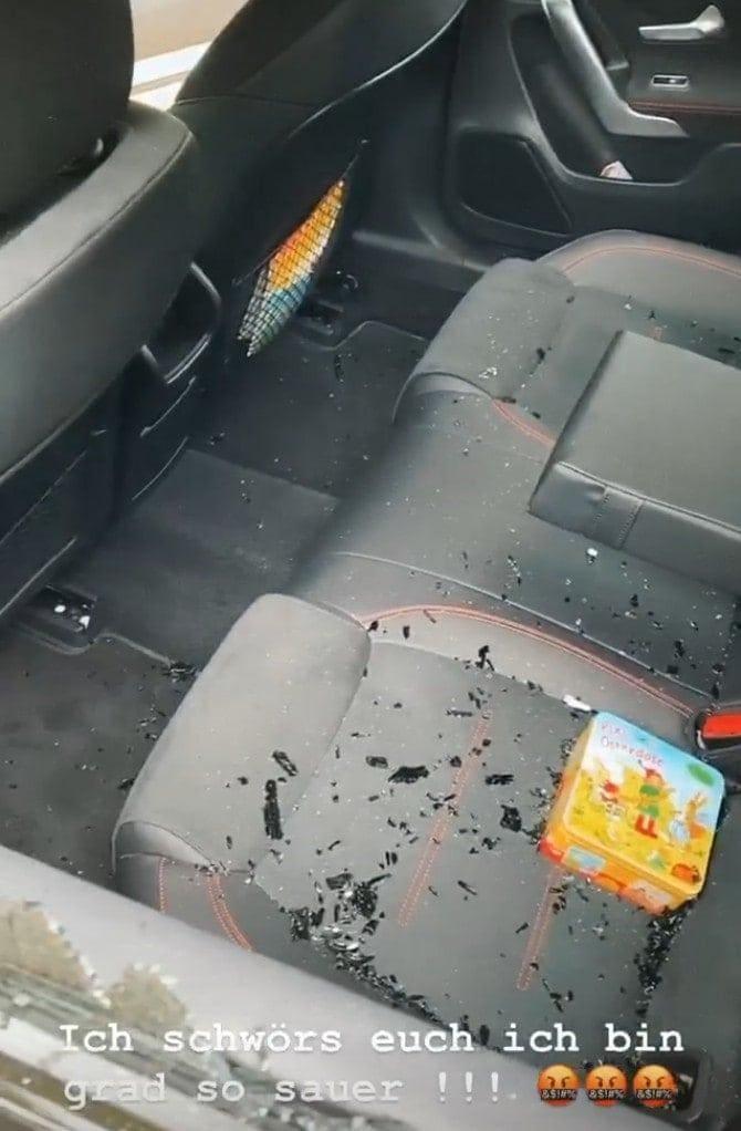 Sarah Lombardi Auto Scheibe eingeschlagen Innenraum Scherben