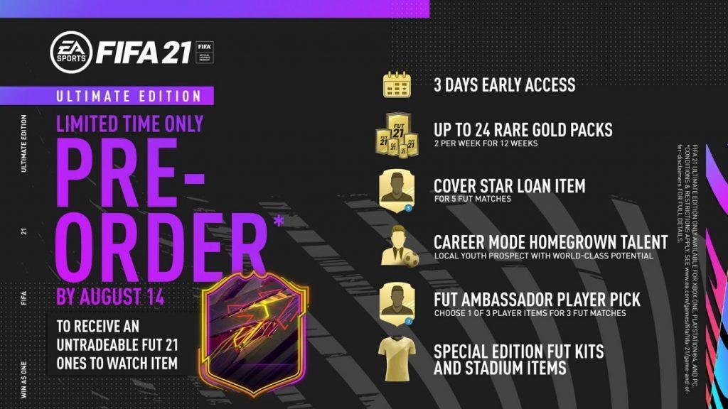 preorder fifa 21 ultimate edition