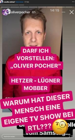 Michael Wendler Instagram Story Oliver Pocher