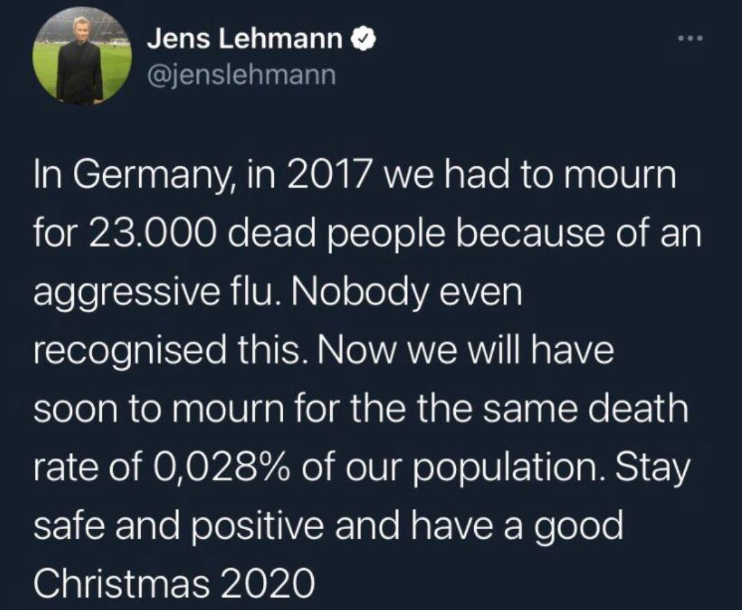 Jens Lehmann Tweet Corona Grippe