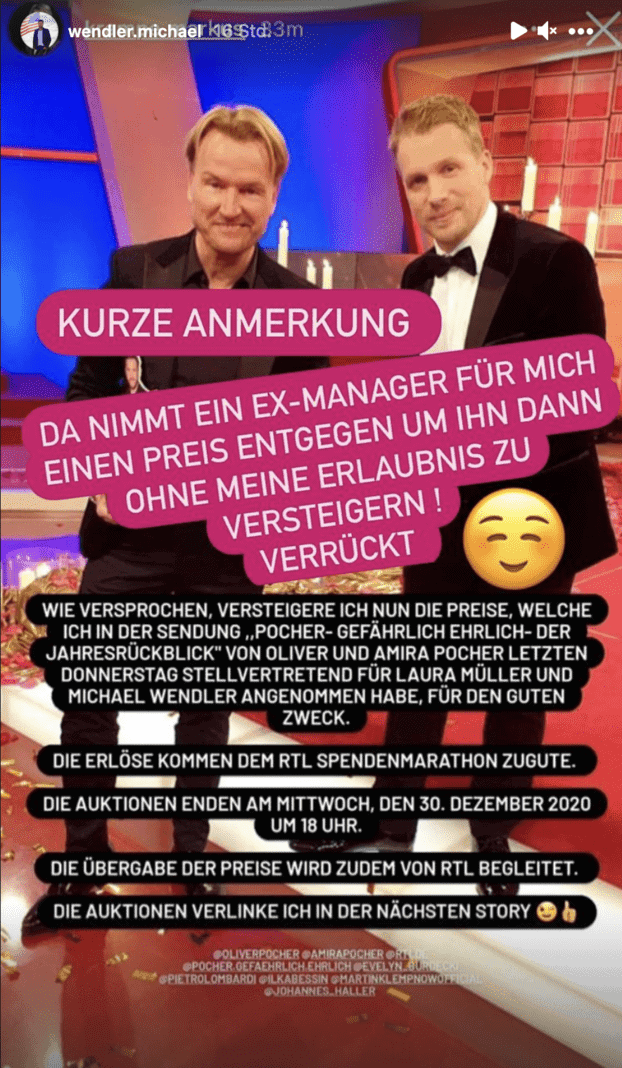 Michael Wendler Instagram Story Krampe Pocher