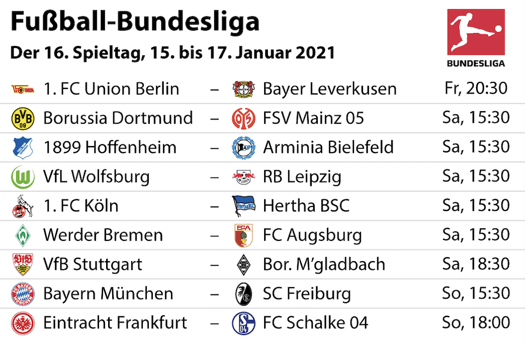 Bundesliga 16. Spieltag