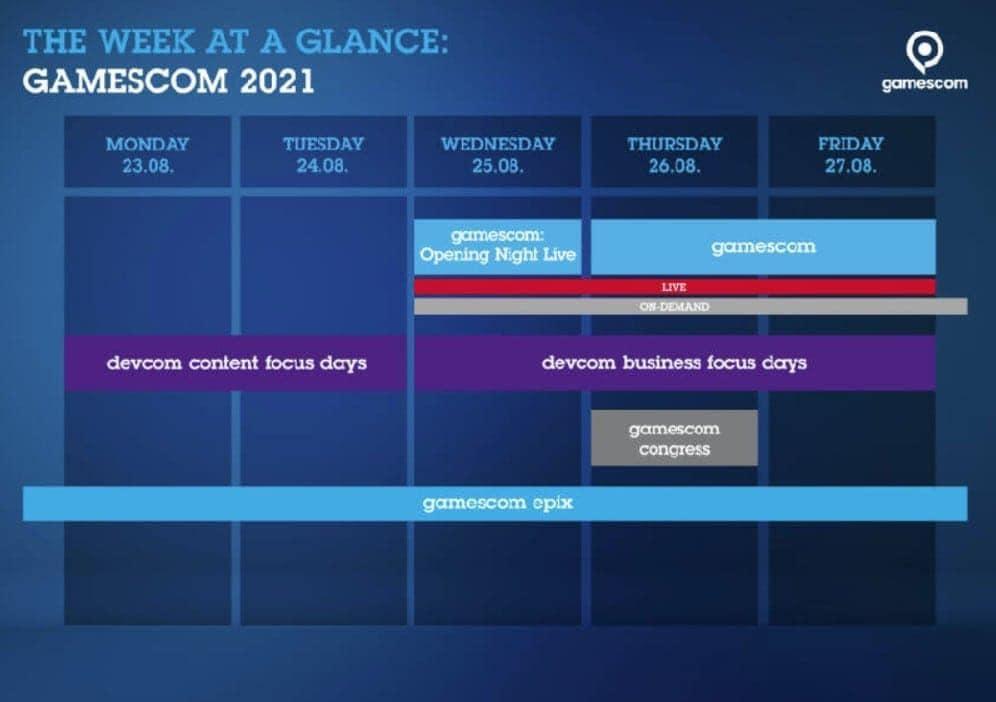 Gamescom Timetable