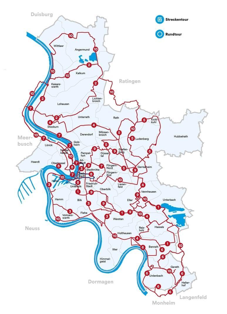 Fahrradtouren durch Düsseldorf Maps