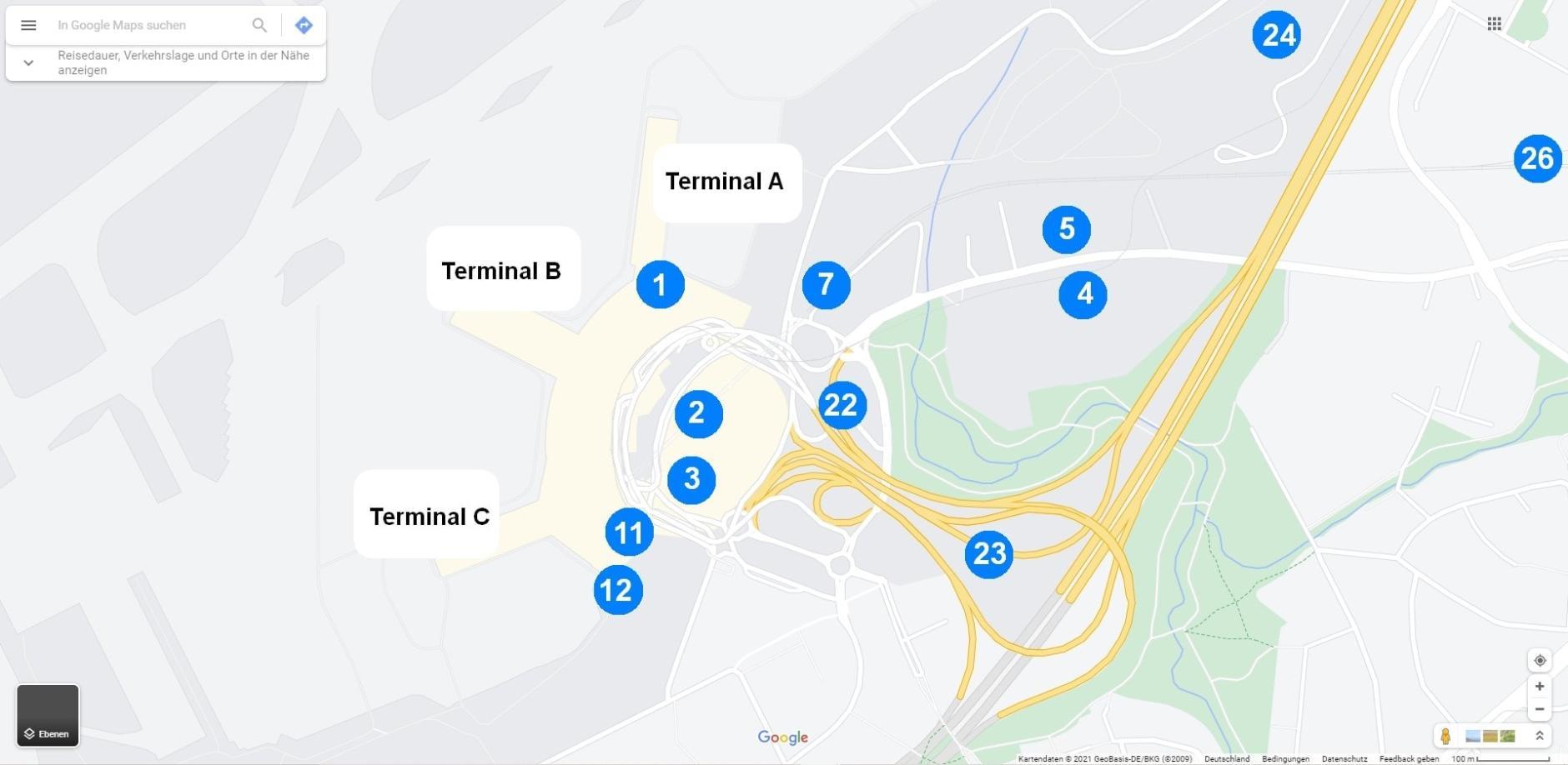 Flughafen Düsseldorf Parkplätze Googlemaps