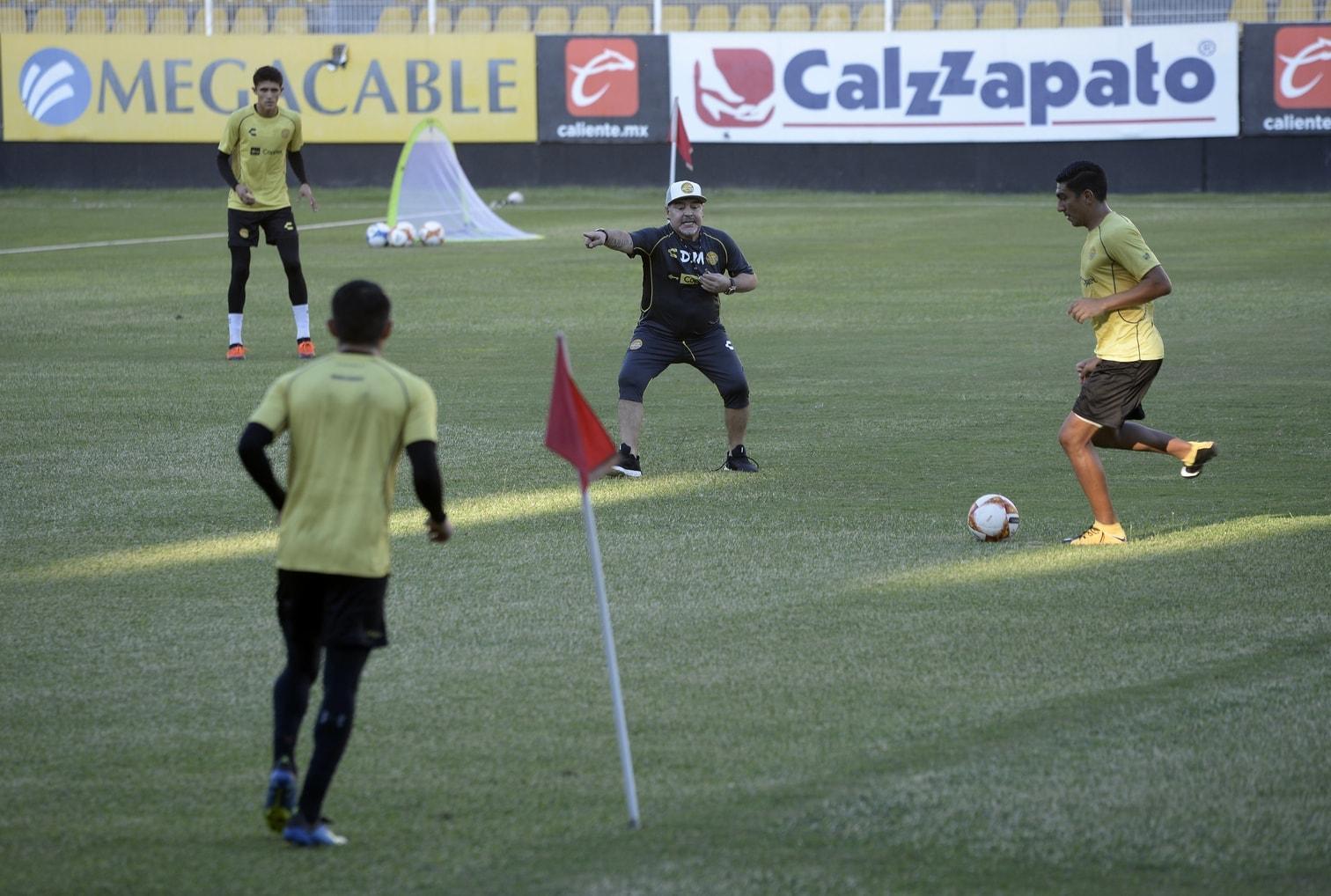 <p>Altstar Diego Maradona will dem mexikanischen Fußball-Zweitligisten Dorados mit einer offensiven Spielweise zum Aufstieg verhelfen.</p> Foto: dpa
