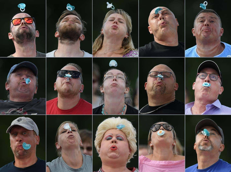 """<p>243 Teilnehmer spucken im hessischen Altenheim mit Schnullern um die Wette. Bei der kuriosen Weltmeisterschaft messen sich nicht nur """"Profi-Weitspucker&ldquo;"""