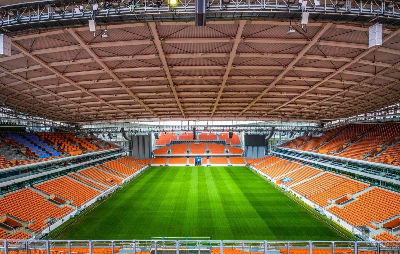 <p>Die Architekten müssen verrückt sein. Oder einfach nur kreativ. Denn das Zentralstadion im russischen Jekaterinburg