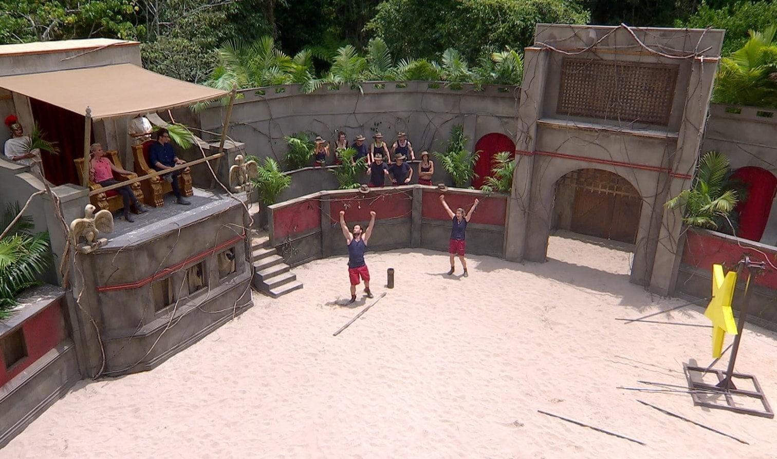 <p>Lasset die Spiele beginnen! Im Dschungelkollosseum müssen sich alle zehn Camper beweisen.</p> Foto: TV NOW / Stefan Menne