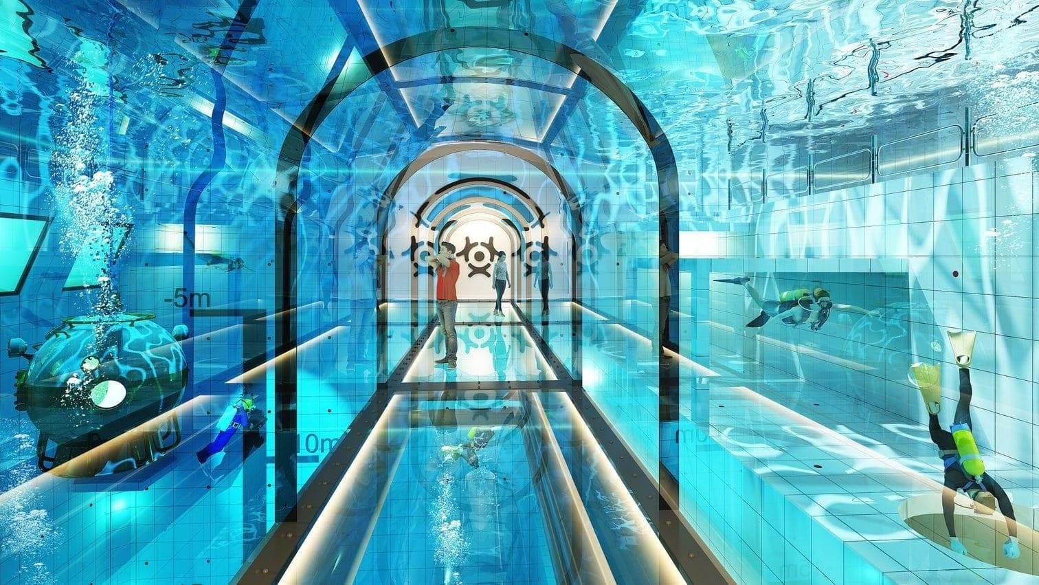 <p>...oder im Trockenen das Spektakel in einem Besucher-Tunnel beobachten.</p> Foto: Deepspot