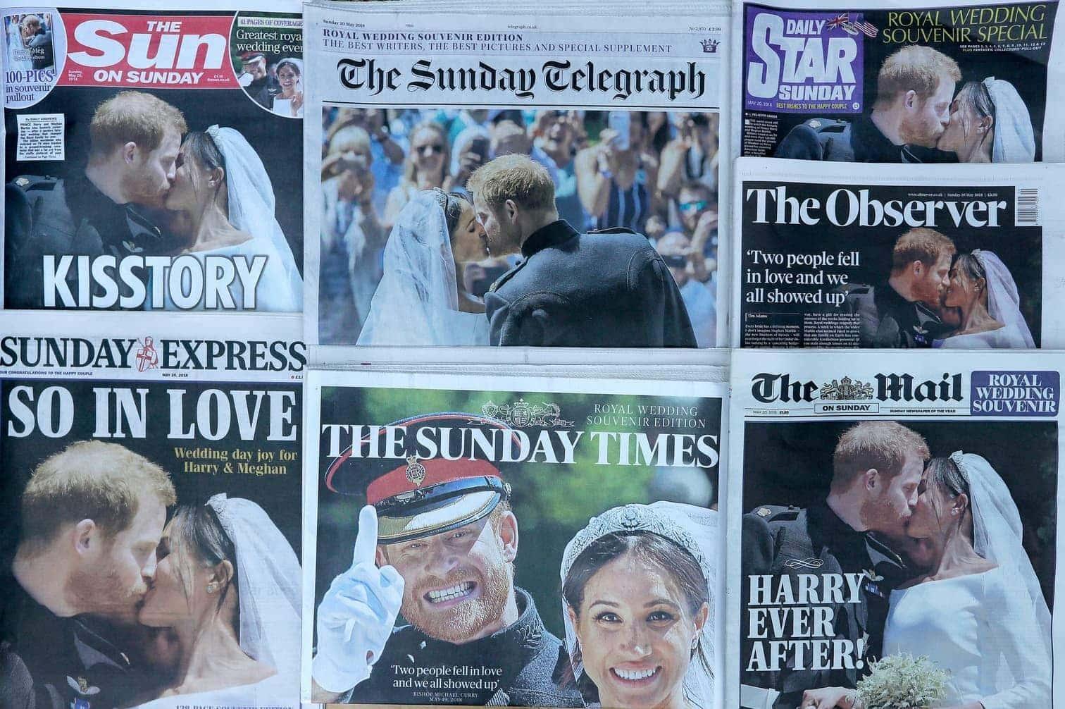 <p>Wir haben die Pressestimmen zur royalen Hochzeit von Meghan und Harry zusammengestellt:</p> Foto: dpa