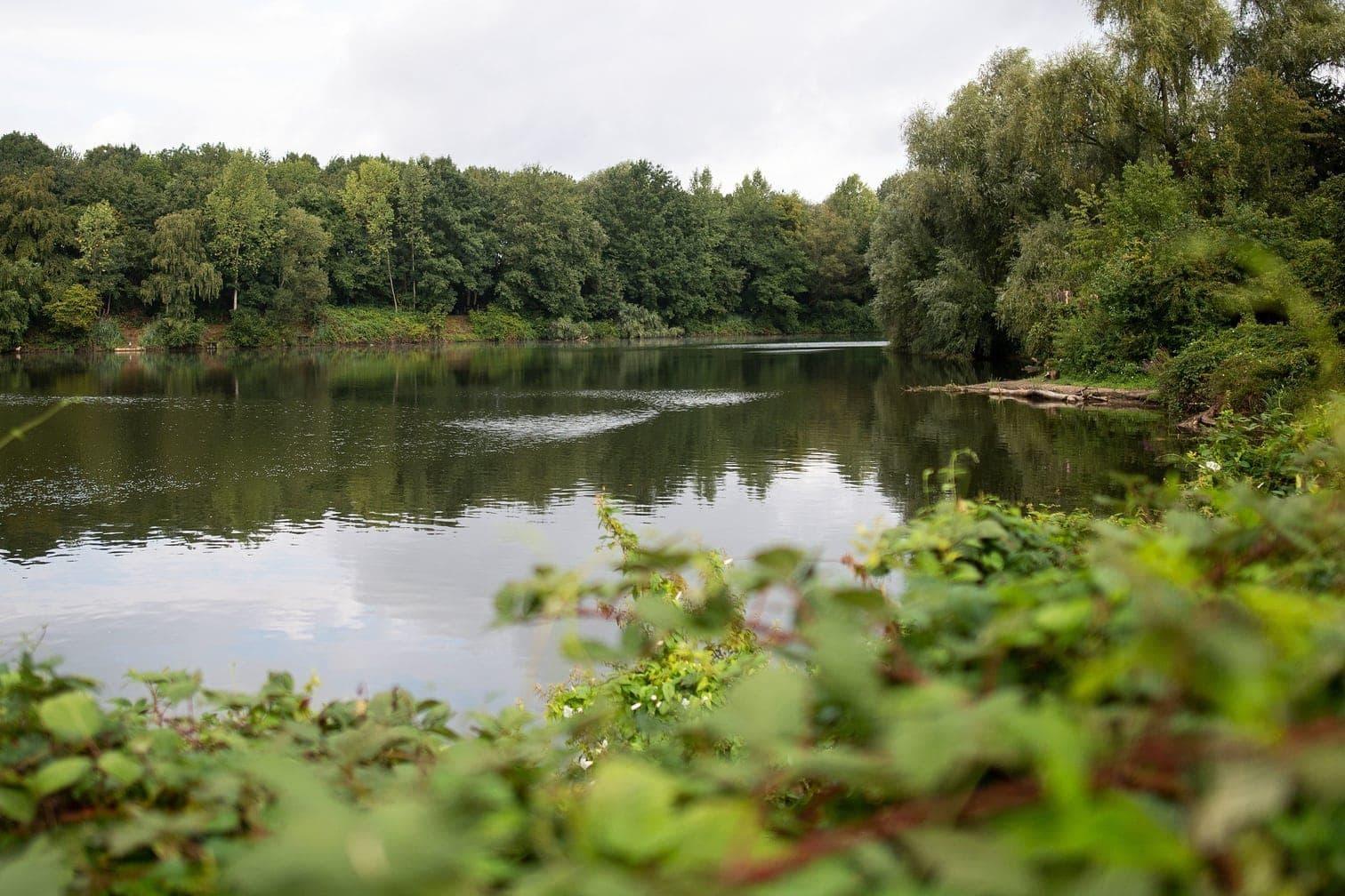 <p>Zuerst hatten Angler die Anakonda am Donnerstag im Latumer See gesehen und die Stadt alarmiert.</p> Foto: dpa