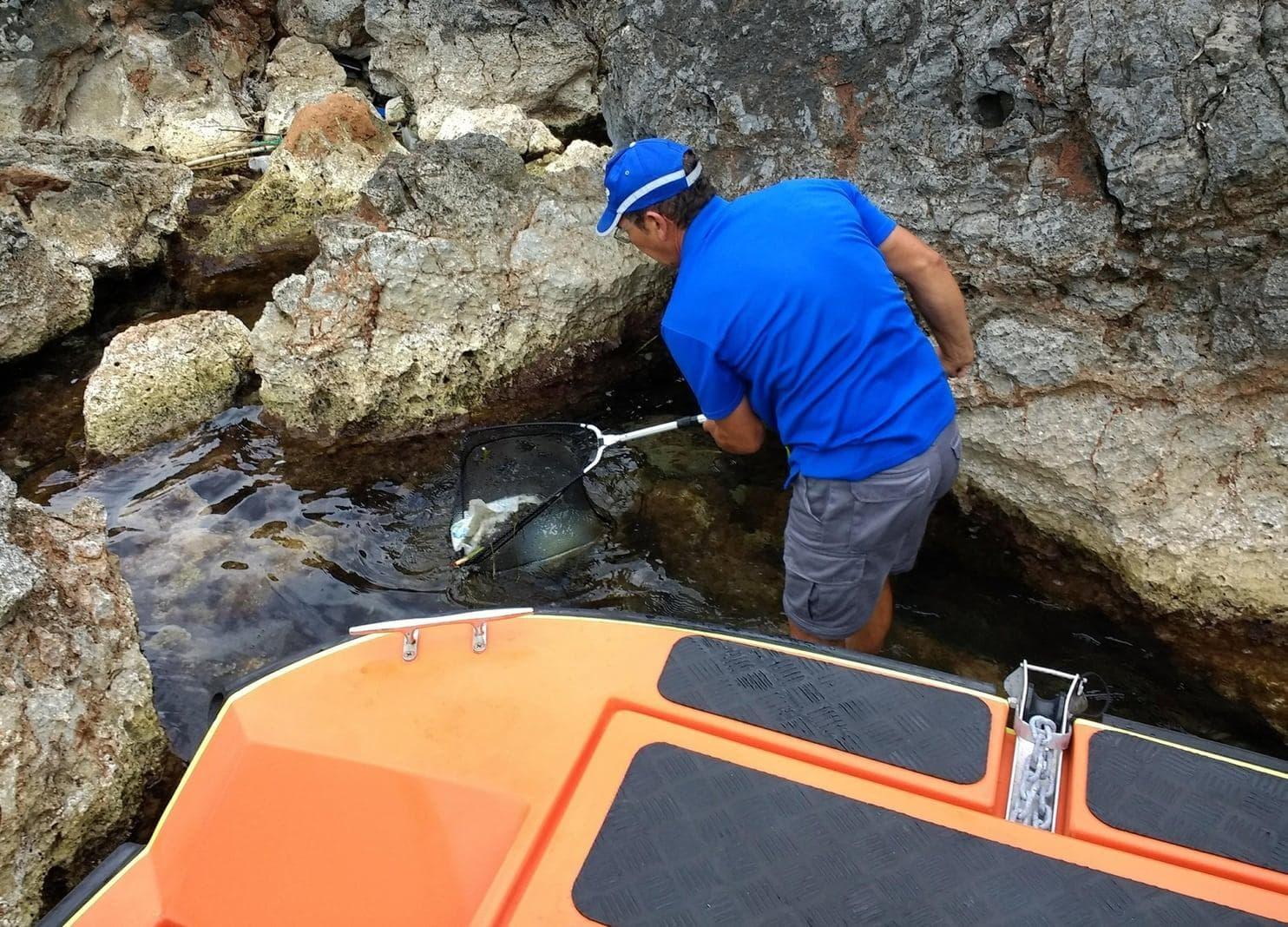 <p>Hier fischt Adrover mit einem Kescher einen Plastik-Kanister aus dem Meer...</p> Foto: dpa
