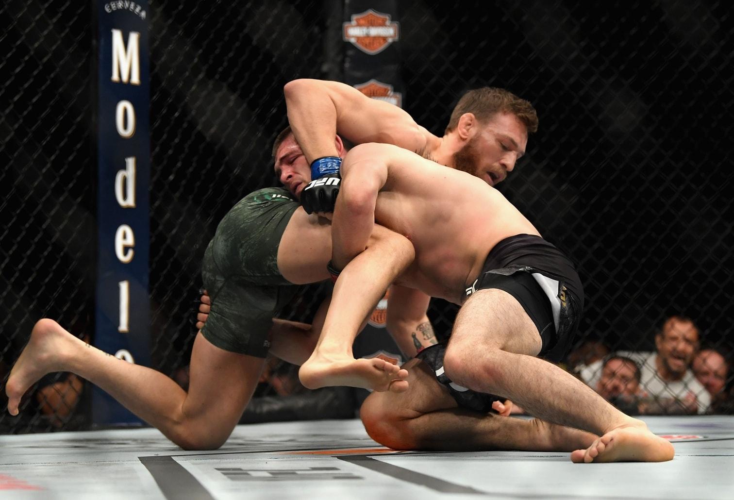 """<p>Der ungeschlagene Russe Khabib Nurmagomedov hat den Mega-Fight des Jahres """"UFC 229"""" gegen Superstar Conor McGregor für sich entschieden. Der Ire musste in der vierten Runde aufgeben"""