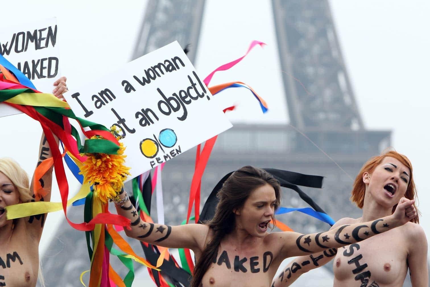 <p>Eine der Gründerinnen der für Oben-ohne-Proteste bekannten ukrainischen Frauenrechtsgruppe Femen