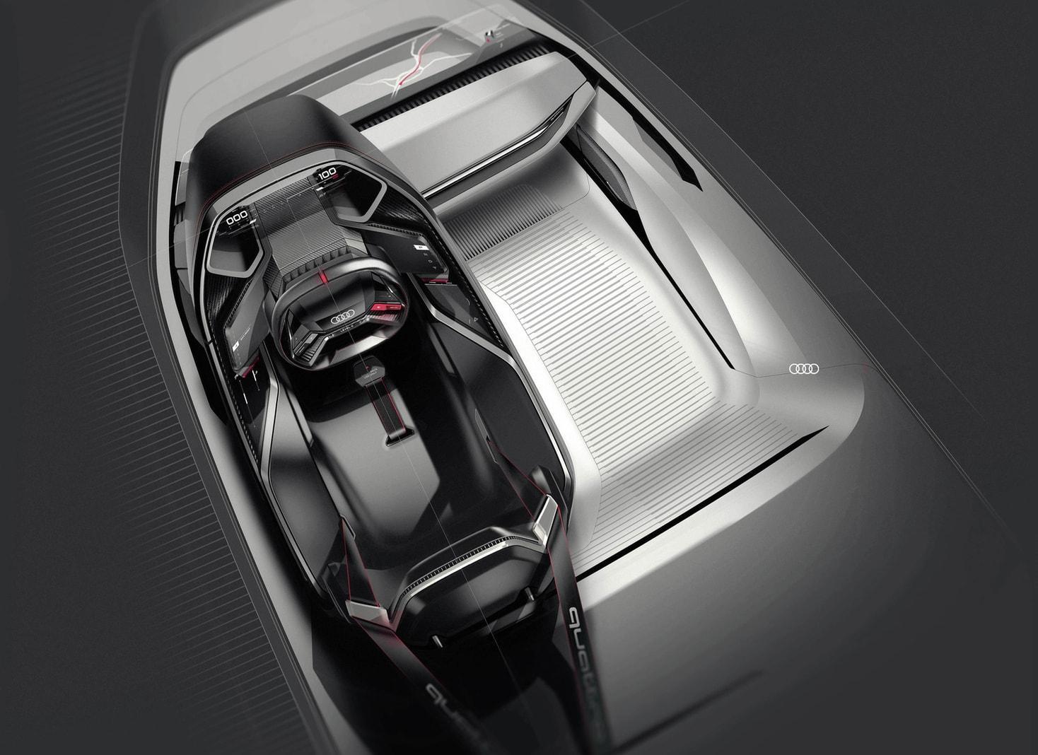 <p>Doch auch für einen Beifahrer soll Platz sein. Der Sitz ist&nbsp;flach im Boden integriert und mit Dreipunkt-Gurt ausgestattet.</p> Foto: AUDI AG