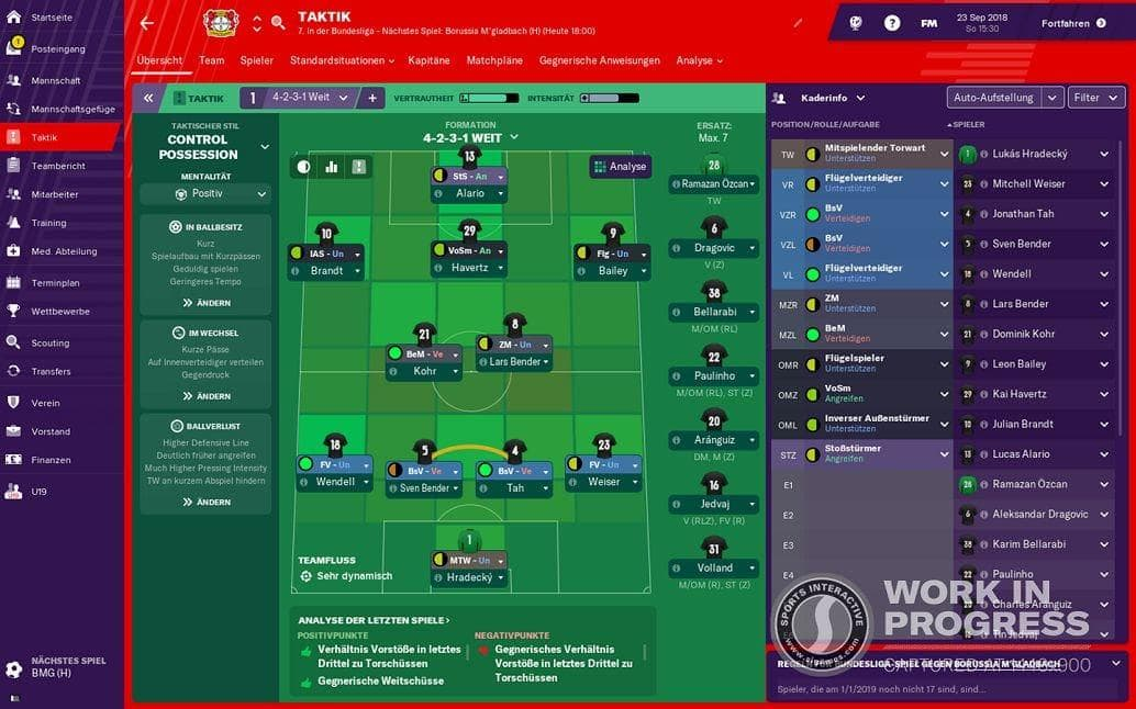 in denen diese auch in der wirklichen Fußballwelt zum Einsatz kommen.</p> Foto: Ega Europe / Sports Interactive