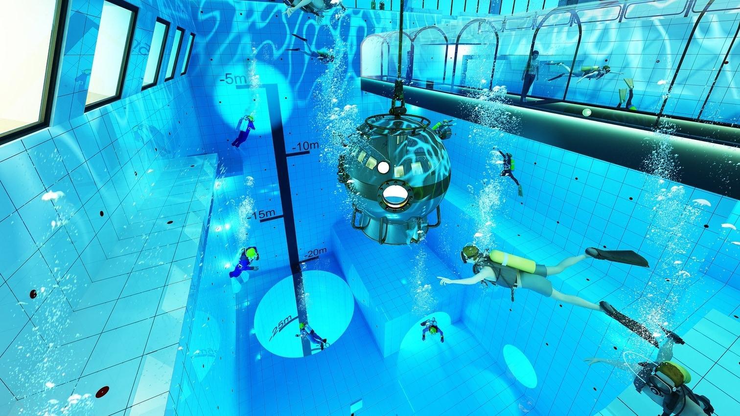 <p>40 Kilometer südwestlich von Polens Hauptstadt Warschau wird ein ganz besonderes Schwimmbecken gebaut.</p> Foto: Deepspot