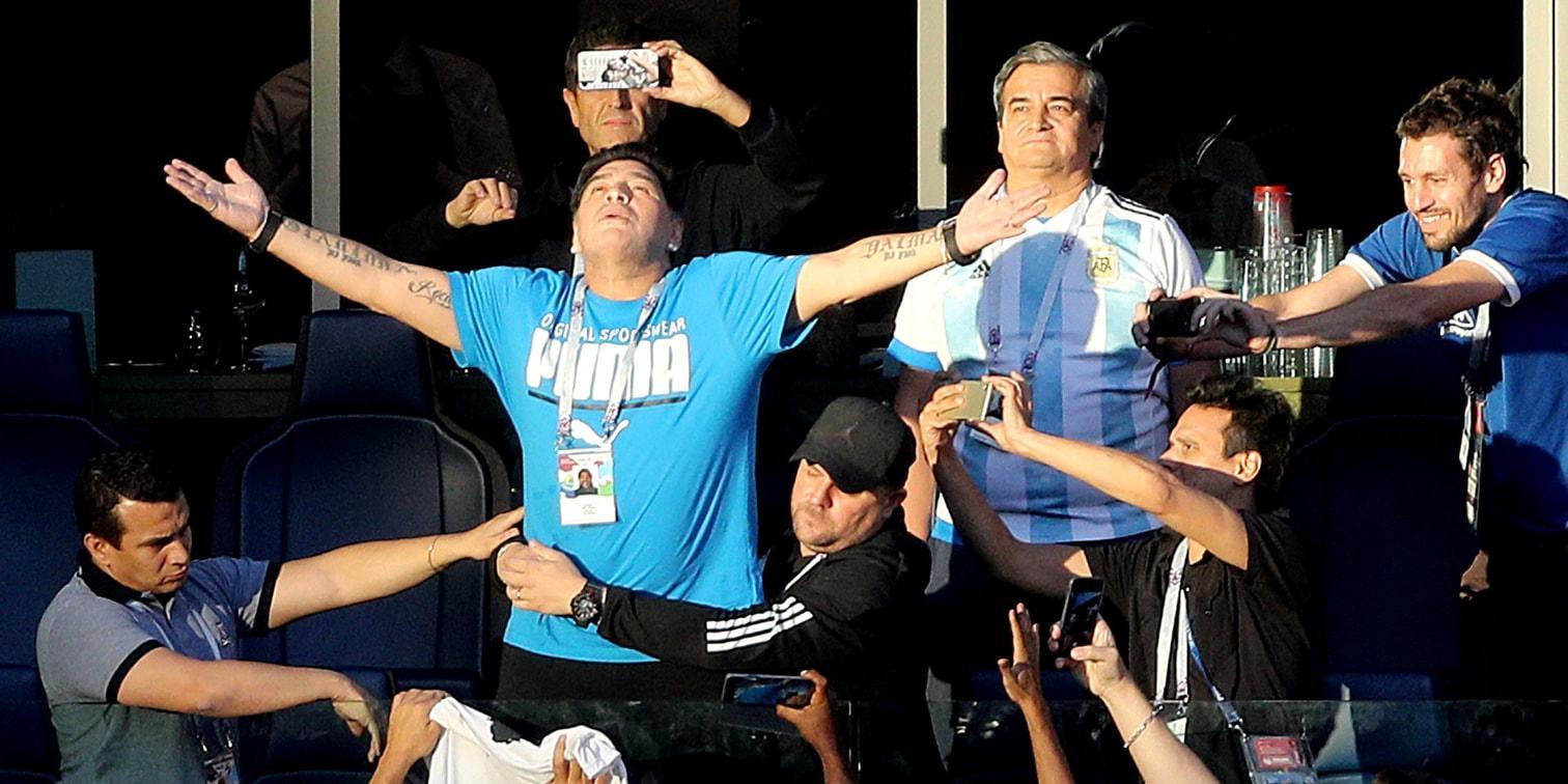 <p>Maradona fiebert bei den Spielen seines Heimatlandes auf emotionale Art und Weise mit.</p> Foto: dpa