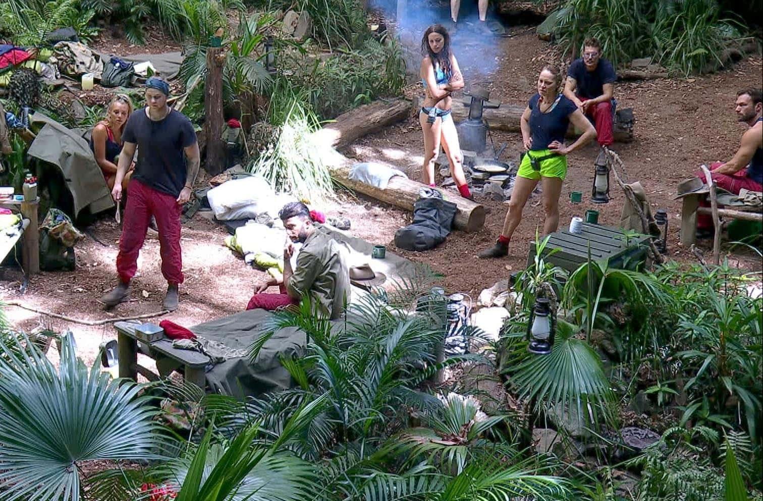 """<p>Der Dschungelalltag nimmt seinen Lauf und plötzlich entdeckt Evelyn eine Schlange im Camp: """"Hier ist eine Schlange.""""</p> Foto: TV Now"""