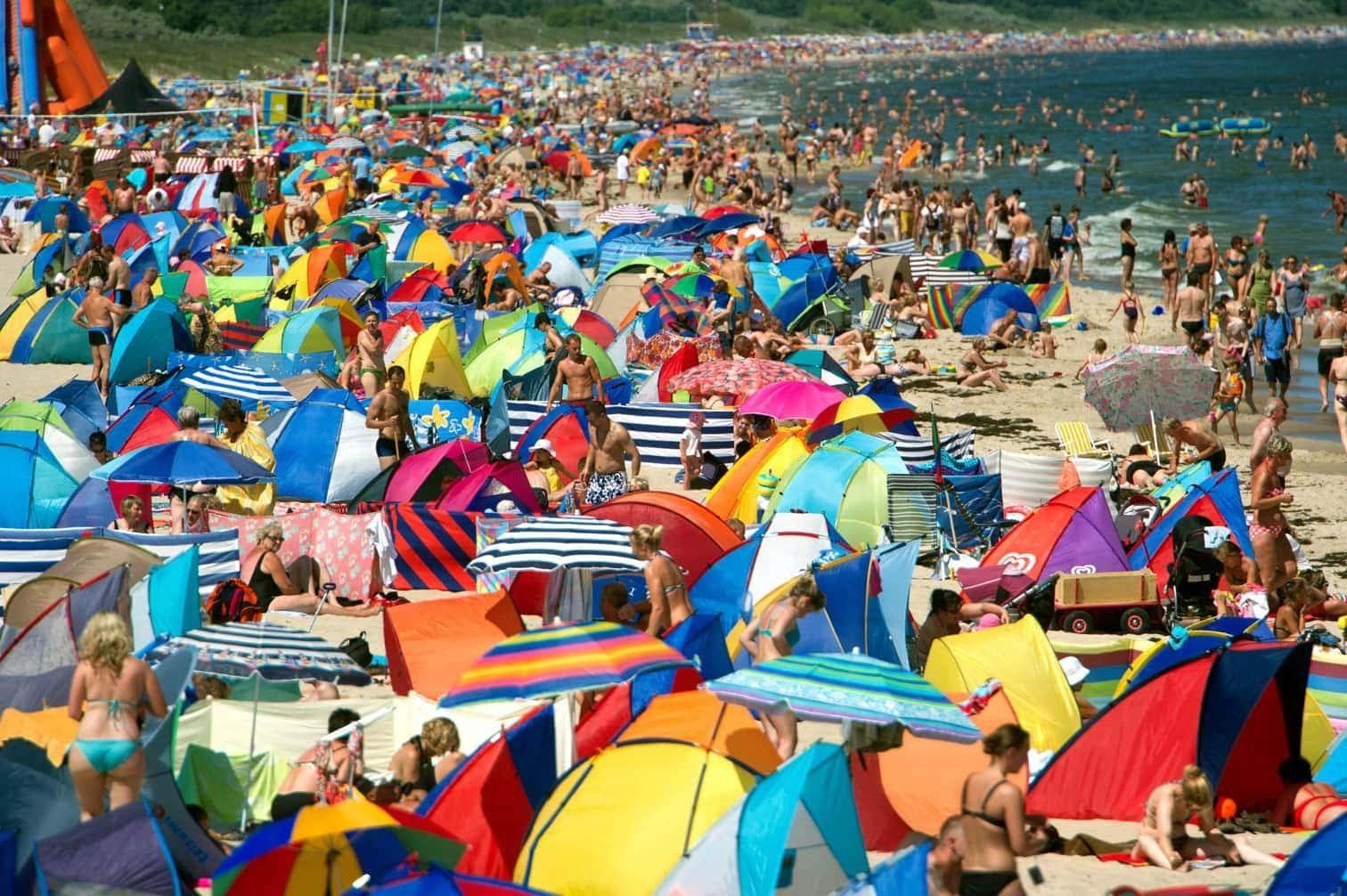 <p>Urlauber nutzen das sonnige Wetter zum Sonnenbad